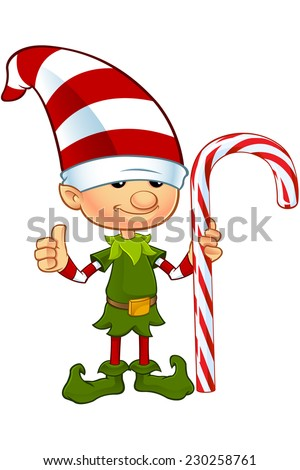 Cute Elf Character - Holding Candy Cane - stock vector