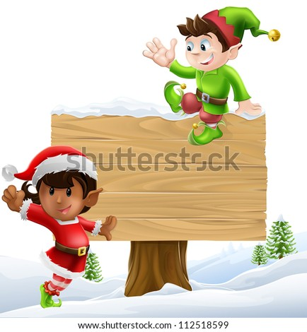 Cute elves one leaning on and one sitting on a Christmas sign in a winter landscape - stock vector