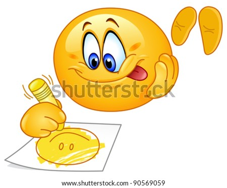 Cute emoticon drawing a smiling face - stock vector
