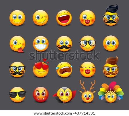 Cute emoticons set, emoji - smiley - vector illustration