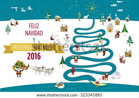Cute eskimos characters celebrating 2016 Christmas and New Year holidays in a snowy village with a river in tree form. - stock vector