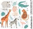 cute exotic animals set. funny...