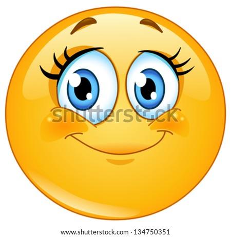 Cute eyelashes emoticon - stock vector