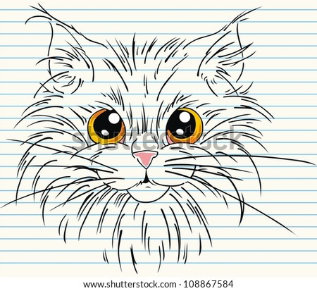 cute face cat with on paper