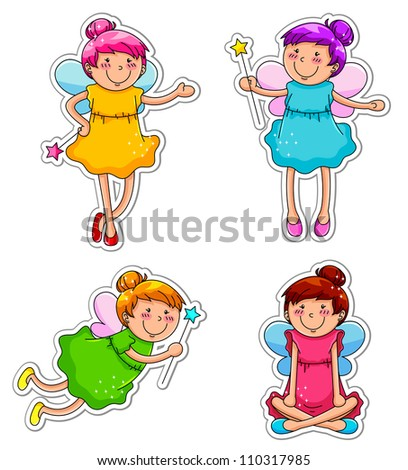 cute fairies (JPEG available in my gallery) - stock vector