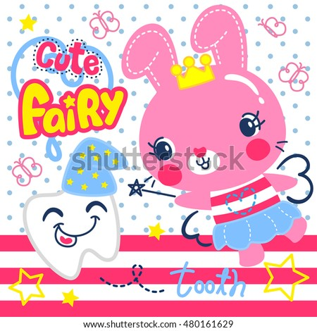 Cute fairy bunny girl with tooth on polka dot background illustration vector.