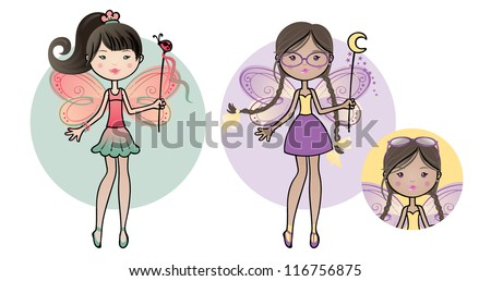 Cute fairy friends, Asian and wearing glasses. - stock vector