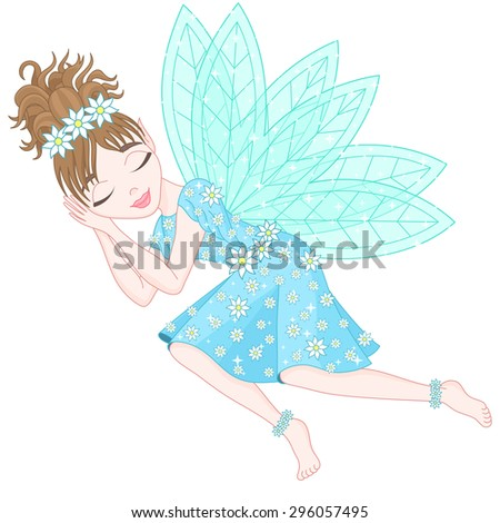 Cute fairy in bright cyan dress decorated of flowers with transparent wings is sleeping, vector illustration, eps 10 - stock vector