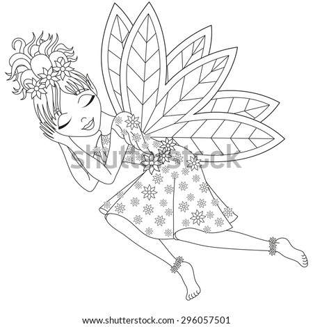 Cute fairy in dress with wings is sleeping, vector illustration, coloring book page for children - stock vector