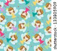 cute fairy kids seamless pattern - stock vector
