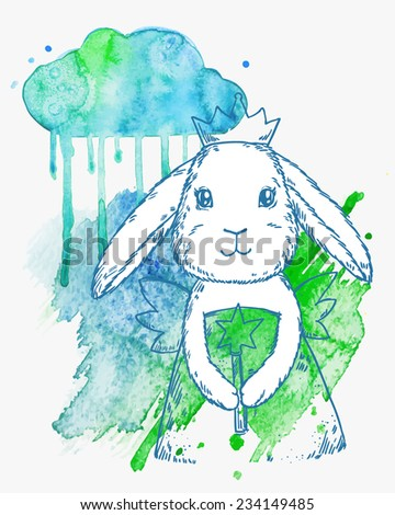Cute fairy princess rabbit with magic wand, wings and crown. Vector illustration on abstract watercolor background - stock vector