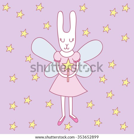 Cute fairy rabbit with magic wand.