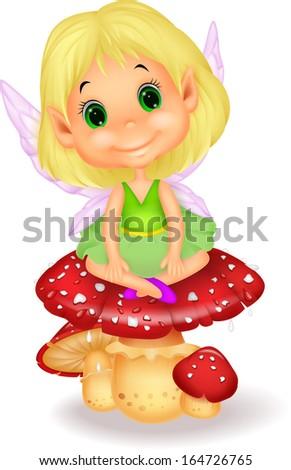 Cute fairy sitting on mushroom - stock vector