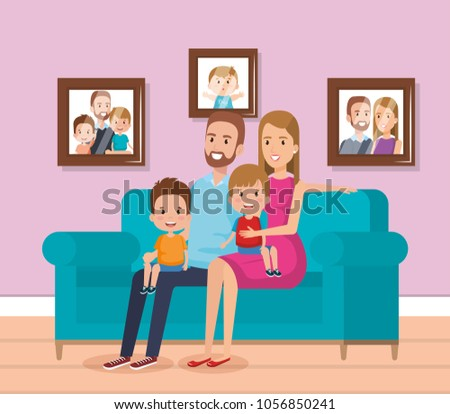 Cute Family Happy Living Room Characters Stock Photo (Photo, Vector ...