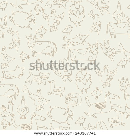 Cute farm animals in cartoon style. Bunnies, dogs, horse, cow, ox, hens, cats, birds, sheep and geese. Seamless background. - stock vector