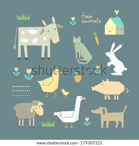 Cute Farm Animals in vector - stock vector