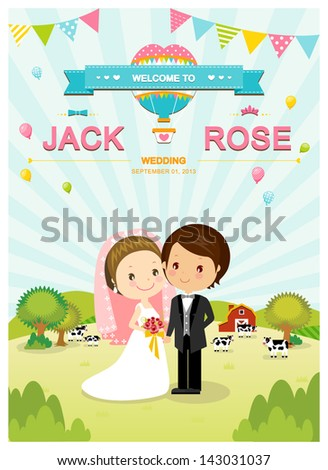 Cute Farm Barn Cow Wedding Invitation Stock Vector - Cute wedding invitation templates