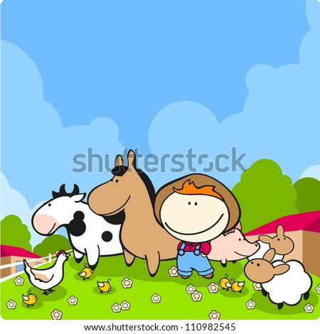 Cute farmer and his animals - stock vector