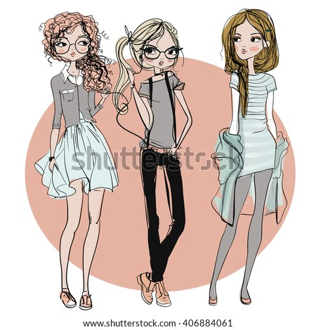 cute fashion cartoon girls in sketchy style - stock vector