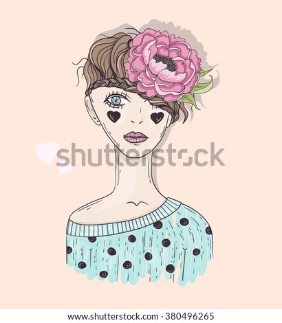 Cute fashion girl illustration. Young girl with braided hair, flower and hearts. - stock vector