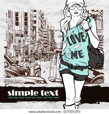 Cute fashion girl on a street background. Vector illustration - stock vector