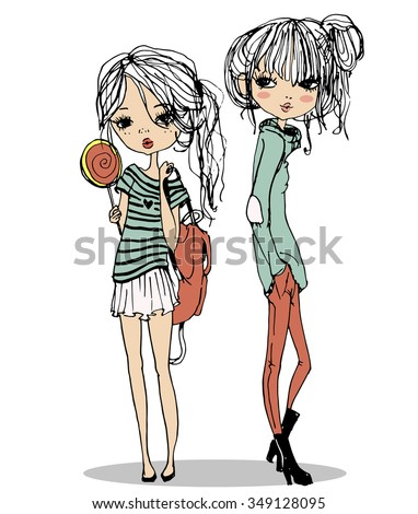 cute fashion girls - stock vector