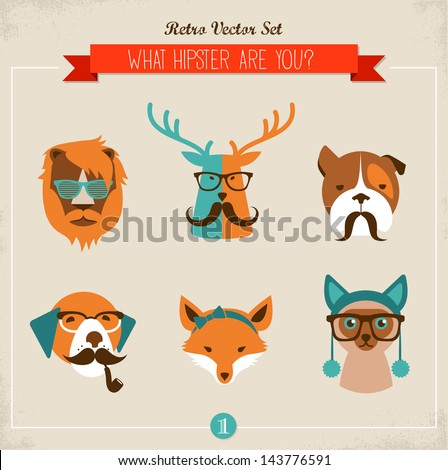 Cute fashion Hipster Animals & pets, set of vector icons - stock vector