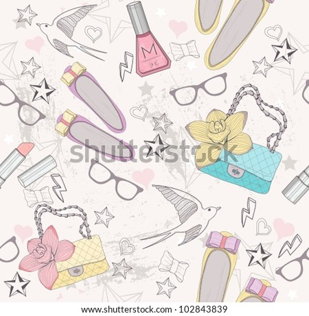 Cute fashion seamless pattern for girls. Pattern with shoes, bags, cosmetic, makeup elements, glasses and birds. - stock vector