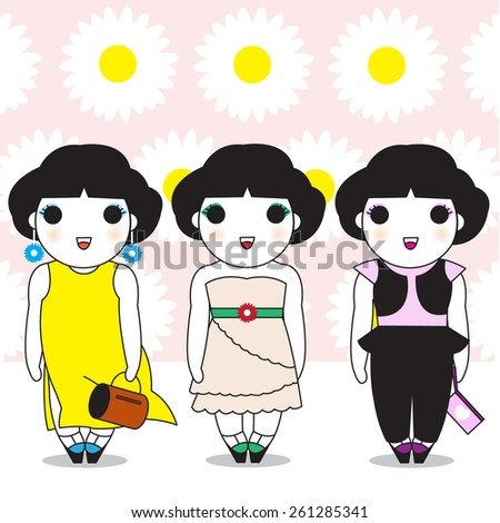 Cute Fashionable Girls Character with Daisy Pattern Background illustration