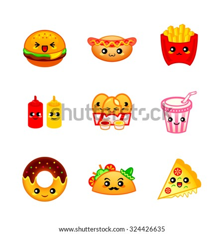 Cute fast-food icons or stickers - stock vector