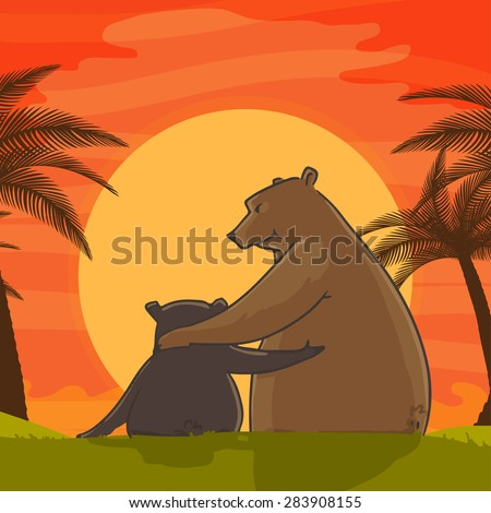 Cute father bear hugging his child on beautiful sun set view background for Happy Father's Day celebration. - stock vector