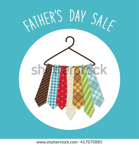 Cute Fathers Day background with different ties on hanger and hand written text for your decoration - stock vector