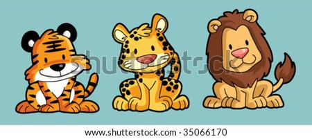 cute Feline animal - stock vector