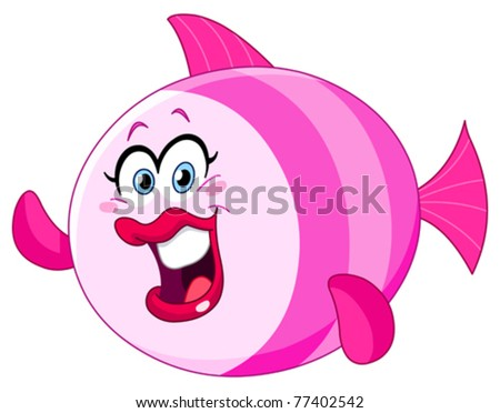 Cute female fish waving with her fin - stock vector