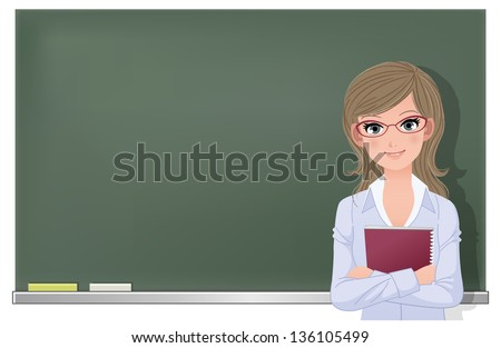Cute female school teacher holding spiral notebook at blackboard in classroom. File contains Gradient mesh, Gradients, Transparency.