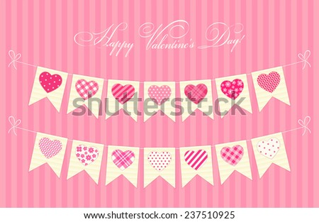 Cute festive retro bunting flags with different hearts ideal for Valentines day or as wedding decoration - stock vector