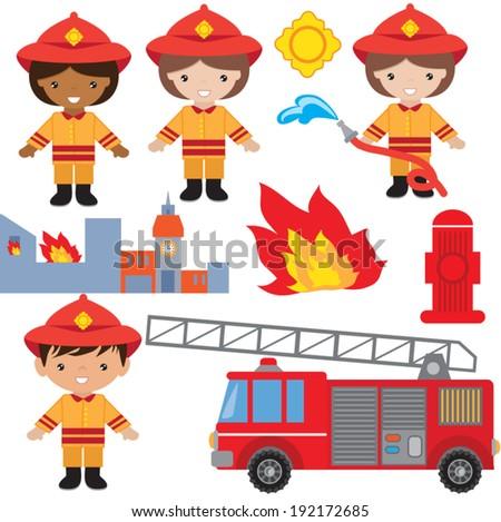Cute Fireman Kid Firefighter Profession Stock Vector ...