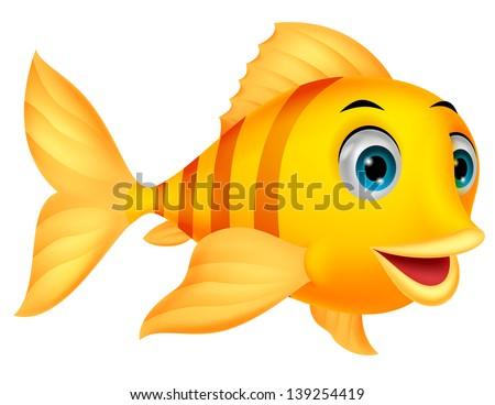 Cute fish cartoon - stock vector