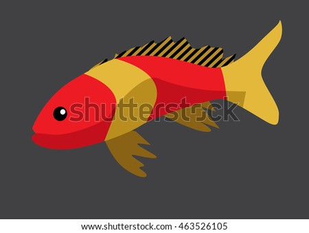 Cute fish cartoon - vector flat