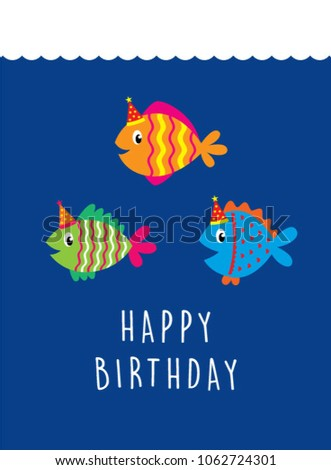 Cute Fish Happy Birthday Greeting Card Stock Vector Hd Royalty Free