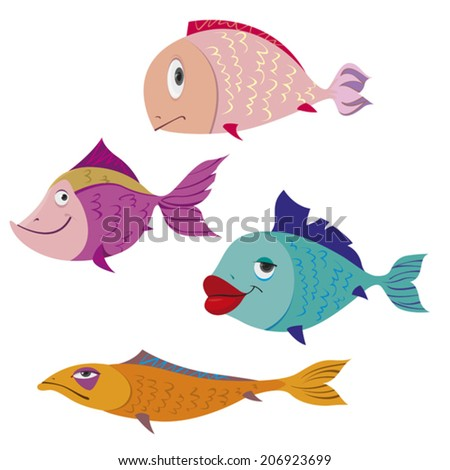 cute fish over white background. vector illustration