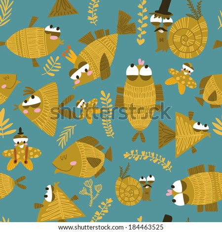 Cute fish seamless pattern. Colorful vector illustration  Can be used for wallpaper, pattern fills, web page background,surface textures - stock vector