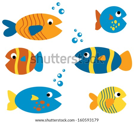 Cute Fish Set - stock vector