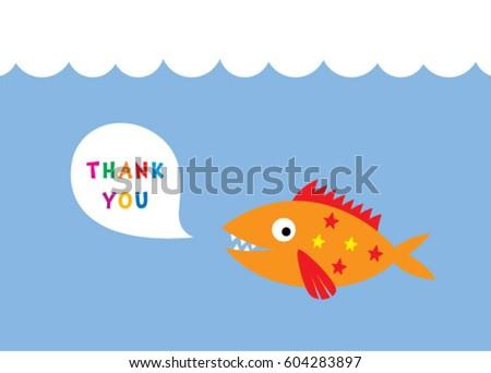 Cute Fish Thank You Card Vector Stock Vector 604283897