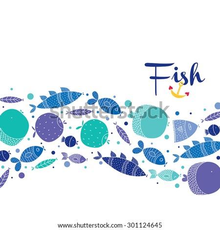 Cute fish. Vector postcard. - stock vector