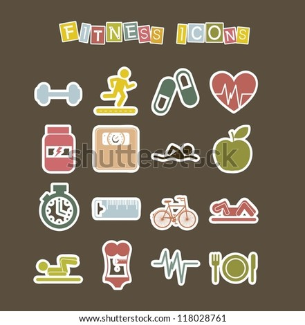 cute fitness icons over  brown background. vector illustration