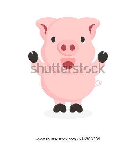 cute flat pig character with happy face