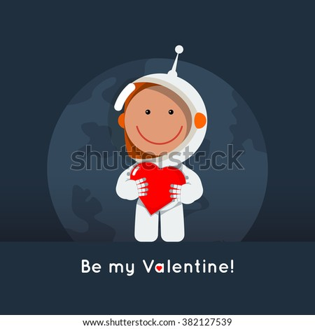 Cute flat style astronaut with heart in his hands. Greeting card for valentine's day as cosmic love sign. Space vector eps illustration - stock vector