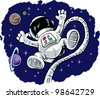 Cute floating Astronaut - stock vector