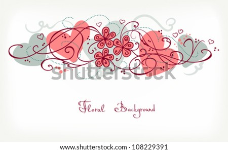 Cute Floral Background. Retro Vector Card for different Events